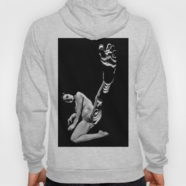 8416-KMA BW Fine Art Nude Woman Toes Striped Foot Up Hoody