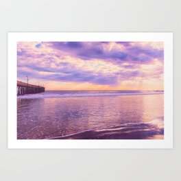 Solace by Sunset Cayucos pier and beach Art Print