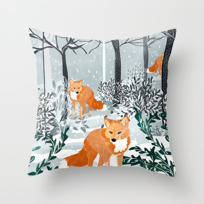 Fox Snow Walk Throw Pillow