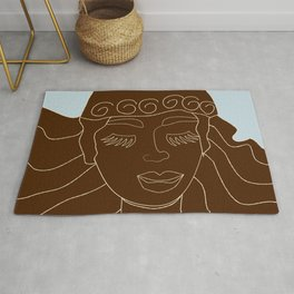 Magical Winter lineart - chocolate and blue Rug
