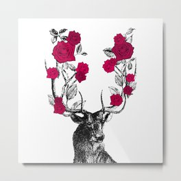 The Stag and Roses | Red Metal Print