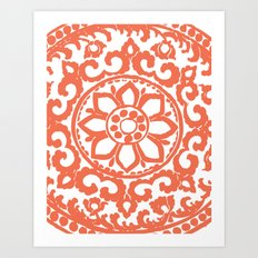 Art Deco Flower Coral Art Print