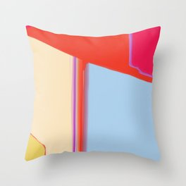 Construct in Orange, Cream and Blue Throw Pillow