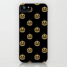 pumpkin gold glitter pattern iPhone Case