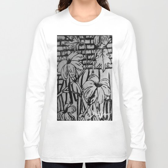 Black and White Palm Flowers by my Mom Long Sleeve T-shirt