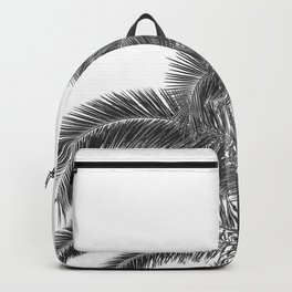 Summer Palm Leaf Print {3 of 3} | B&W Black and White Sun Sky Beach Vibes Tropical Plant Nature Art Backpack