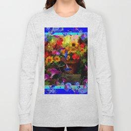 Blue Morning Glories Floral Still life Long Sleeve T-shirt
