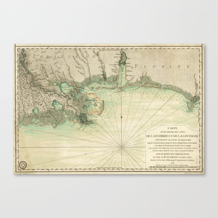Florida Gulf Side Map.Map Of Louisiana And Florida Gulf Coast 1778 Canvas Print By Thearts