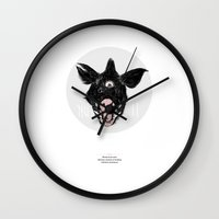 monster Wall Clocks featuring Monster by Tom Kitchen