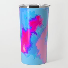 Girly Pink and Blue Abstract Digitized Watercolor Travel Mug