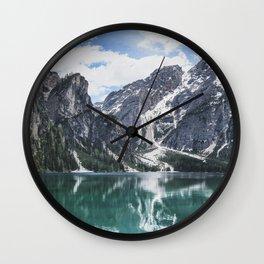 Mountain Lake Panorama // Landscape Photography Wall Clock