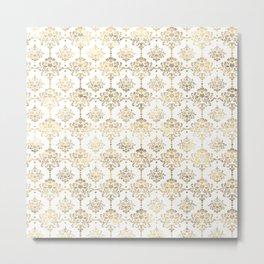 White & Gold Motif Metal Print