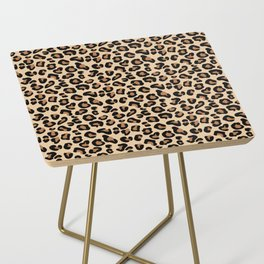Leopard Print, Black, Brown, Rust and Tan Side Table