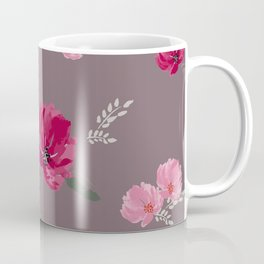Watercolor pink & red peonies on dusty pink background Coffee Mug