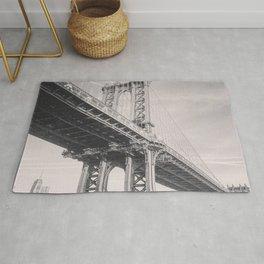 Manhattan Bridge, New York City, black & white, fine art photography, NY Rug