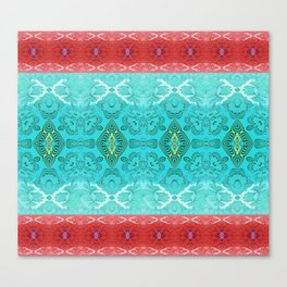 Turquoise and Red Textured Boho Geometric Canvas Print