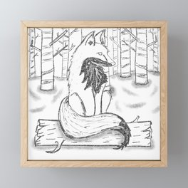 FOX black and white Framed Mini Art Print