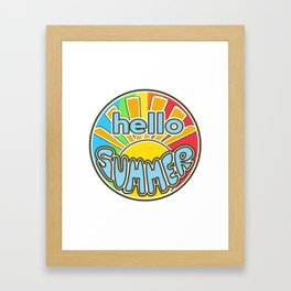 Hello Summer, summer sticker, rainbow colors, Sunshine Framed Art Print