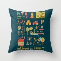 farm Throw Pillows featuring farm by blablasah