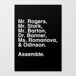 Tribute 1 - Avengers Canvas Print