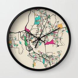 Colorful City Maps: Abidjan, Ivory Coast Wall Clock