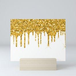 Gold Glitter Sparkle Drips Mini Art Print