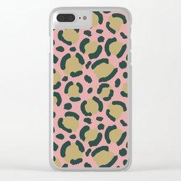 Pink Blush leopard Clear iPhone Case