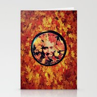 "nicolas cage Stationery Cards featuring Nicolas cage eyeshadow: ""Nic Cage Raking Leaves On a Brisk October Afternoon"" by Paris Noonan"