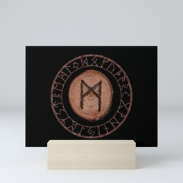 Mannaz - Wooden Celtic Rune of self, individuals, universe, family, loved ones, friends, devoted Mini Art Print