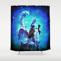 nebula Shower Curtains featuring Blue Pillars of Creation nEBULA  by 2sweet4words Designs
