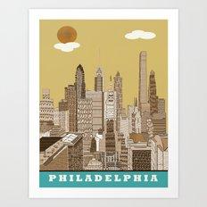 Philadelphia skyline vintage Art Print