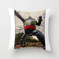 kobe Throw Pillows featuring Guardian of Kobe By Eku Zhong by SLUniverse