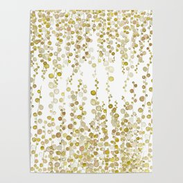 golden string of pearls watercolor Poster