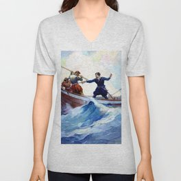 """A Pretty Fight"" Pirate Art by Frank Schoonover Unisex V-Neck"
