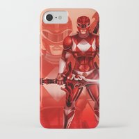 power ranger iPhone & iPod Cases featuring Red Ranger by Isaiah K. Stephens