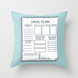 Blank Crisis Safety Plan Reference Art for Therapists, Social Workers, & Counselors Throw Pillow