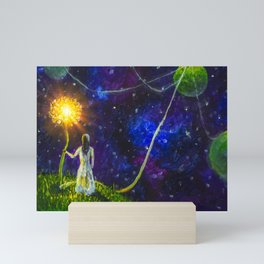 Threads of love. Princess and Little Prince. Love, planets and attraction to each other. Original! Mini Art Print