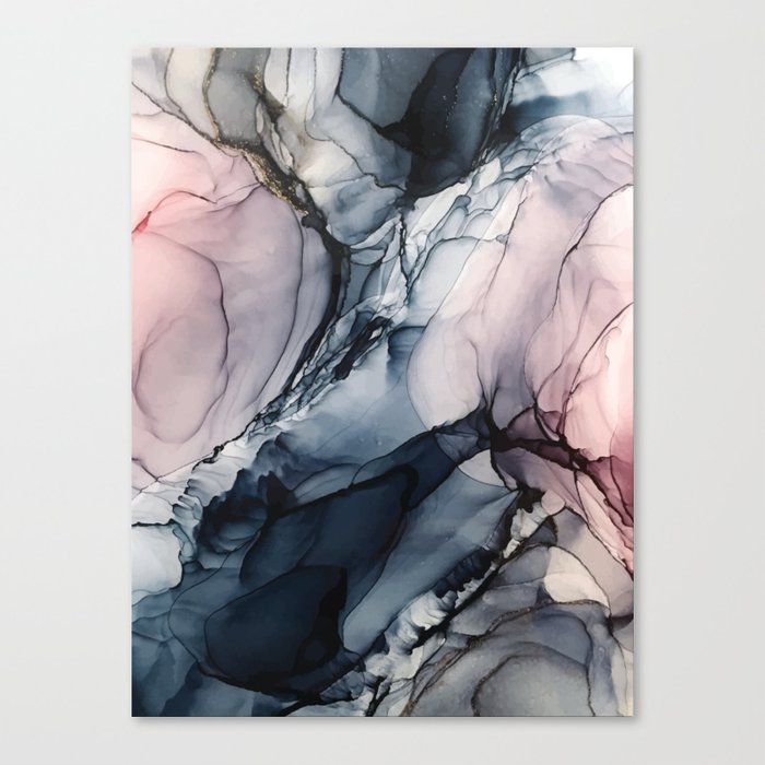 Blush, Navy and Gray Abstract Calm Clouds Canvas Print