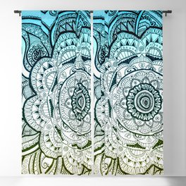 Mandala Blue Yellow Blackout Curtain