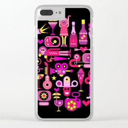 Celebration Party round illustration Clear iPhone Case