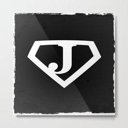 White Letter J Symbol Metal Print