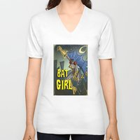 batgirl V-neck T-shirts featuring Batgirl by Joe Badon