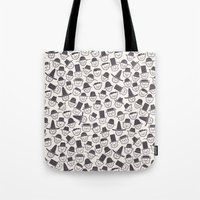 hats Tote Bags featuring Cats With Hats by Teo Zirinis