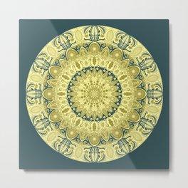 Gold and Teal Oak Leaf Mandala Metal Print