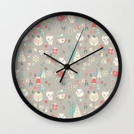 Baby fox pattern 03 Wall Clock