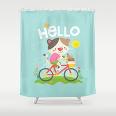 Cat on a bike Shower Curtain