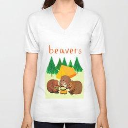 Beavers Illustration Unisex V-Neck