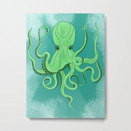 Green Octopus Metal Print