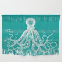 Octopus   Teal and White Wall Hanging