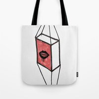 mouth Tote Bags featuring mouth by Emanuele Tortora